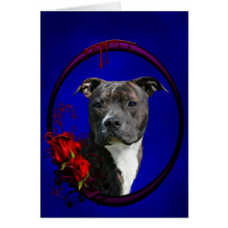 Pitbull and bloody roses card