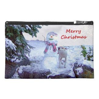 Pitbull and Snowman Christmas Travel Accessory Bag