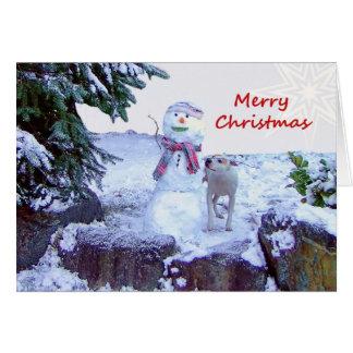 Pitbull and Snowman Christmas Card Greeting Card