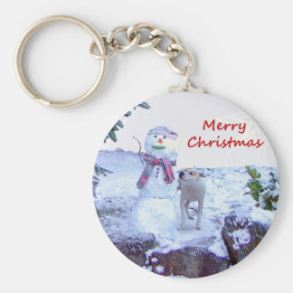 Pitbull and Snowman Christmas Keychain