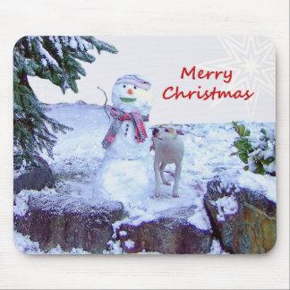 Pitbull and Snowman Christmas Mousepad