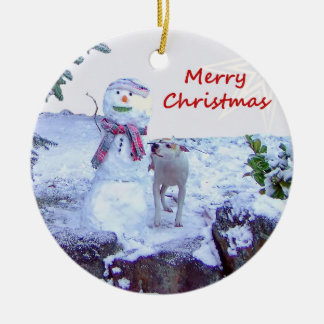Pitbull and Snowman Christmas Double-Sided Ceramic Round Christmas Ornament