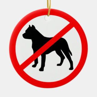 Pitbull Ban Ceramic Ornament