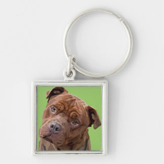 "Pitbull ""Benz"" Fences For Fido Mens Tie Keychain"