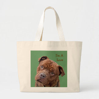 "Pitbull ""Benz"" Fences For Fido Mens Tie Large Tote Bag"