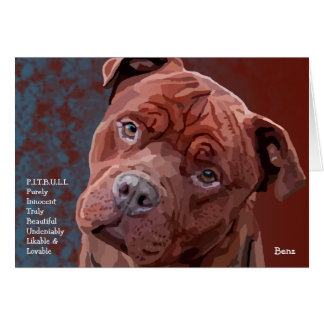 "Pitbull ""Benz"" Personalities Greeting Card"