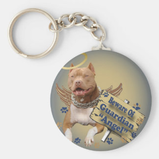 Pitbull Beware Of Guardian Angel Gifts Keychain