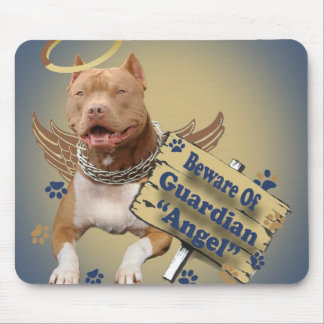 Pitbull Beware Of Guardian Angel Gifts Mouse Pad
