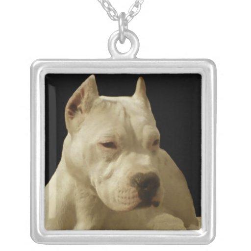 Pitbull blanco Terrier Colgante Cuadrado