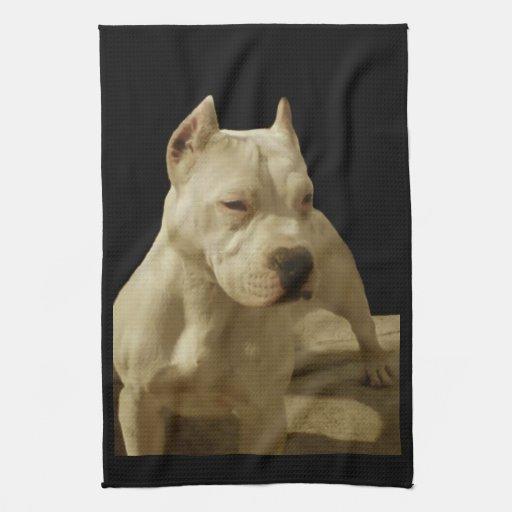 Pitbull blanco Terrier Toalla De Cocina