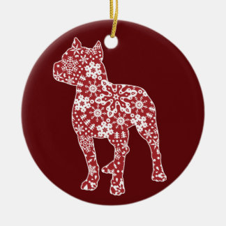 Pitbull, Boho Christmas Snowflakes Ceramic Ornament