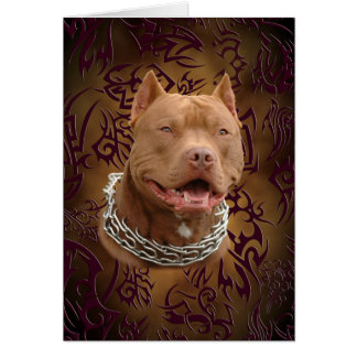 Pitbull brown tribal tattoo card