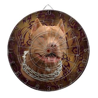 Pitbull brown tribal tattoo dart board