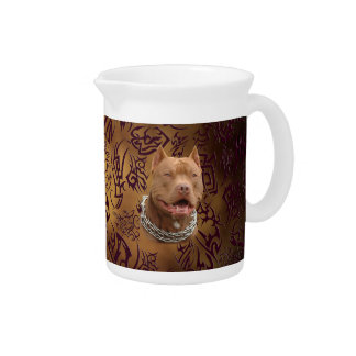 Pitbull brown tribal tattoo drink pitchers