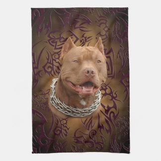 Pitbull brown tribal tattoo kitchen towels