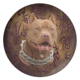 Pitbull brown tribal tattoo melamine plate