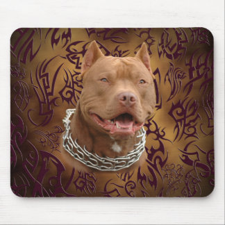 Pitbull brown tribal tattoo mouse pad