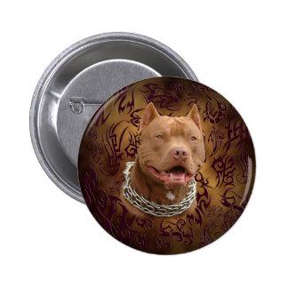 Pitbull brown tribal tattoo pinback button
