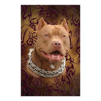 Pitbull brown tribal tattoo stationery