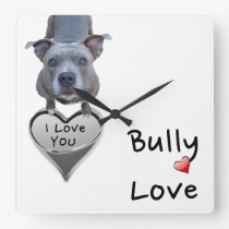 Pitbull Bully Love Wall Clock