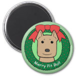Pitbull Christmas 2 Inch Round Magnet