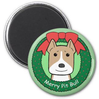 Pitbull Christmas 2 Inch Round Magnet