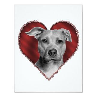 """Pitbull con el corazón invitación 4.25"""" x 5.5"""""""