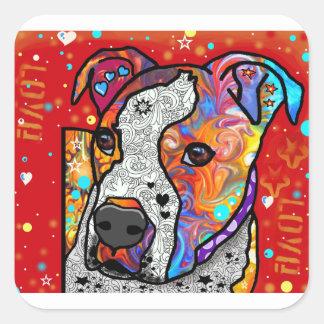 Pitbull cósmico - colorido brillante - idea del pegatina cuadrada