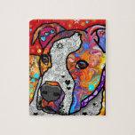 Pitbull cósmico - colorido brillante - idea del puzzles con fotos