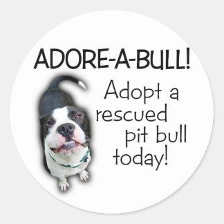 ¡Pitbull de Adorar-UNO-Bull! Pegatina Redonda
