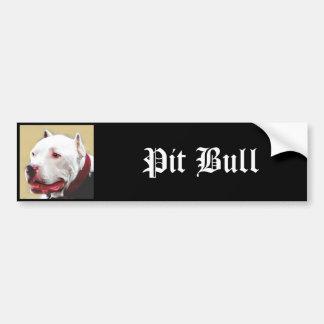 Pitbull de Whtie Pegatina De Parachoque