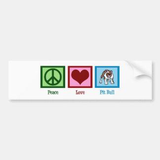 Pitbull del amor de la paz pegatina de parachoque