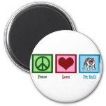 Pitbull del amor de la paz imán redondo 5 cm