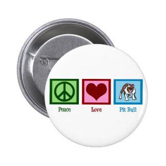 Pitbull del amor de la paz pin redondo de 2 pulgadas