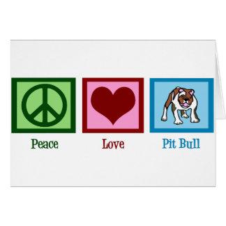 Pitbull del amor de la paz tarjeta de felicitación