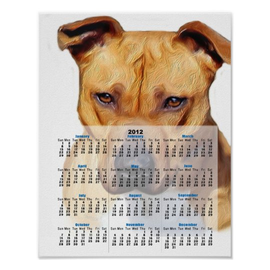 Pitbull dog 2012 calendar poster