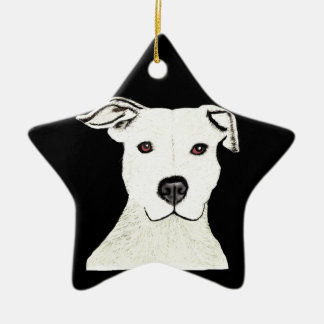 Pitbull dog breed ceramic ornament