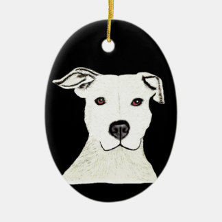 Pitbull dog breed Double-Sided oval ceramic christmas ornament