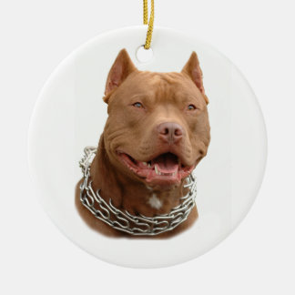Pitbull dog ceramic ornament