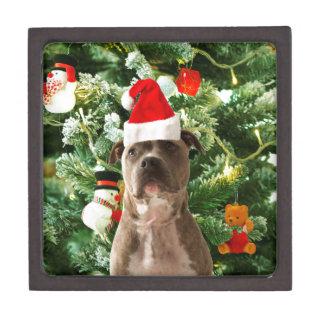 Pitbull Dog Christmas Tree Ornaments Snowman Keepsake Box