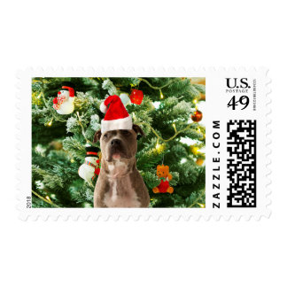Pitbull Dog Christmas Tree Ornaments Snowman Postage