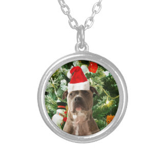 Pitbull Dog Christmas Tree Ornaments Snowman Round Pendant Necklace