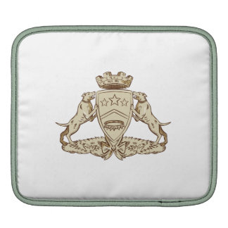 Pitbull Dog Coat of Arms Etching Sleeves For iPads