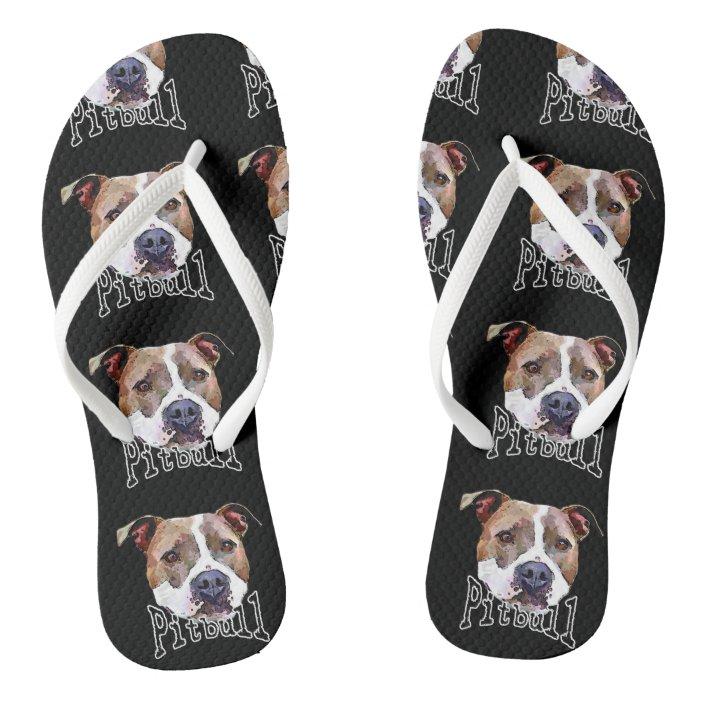 Pitbull Dog Flip Flops | Zazzle.com