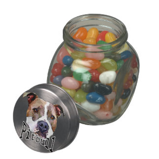 Pitbull dog glass jar