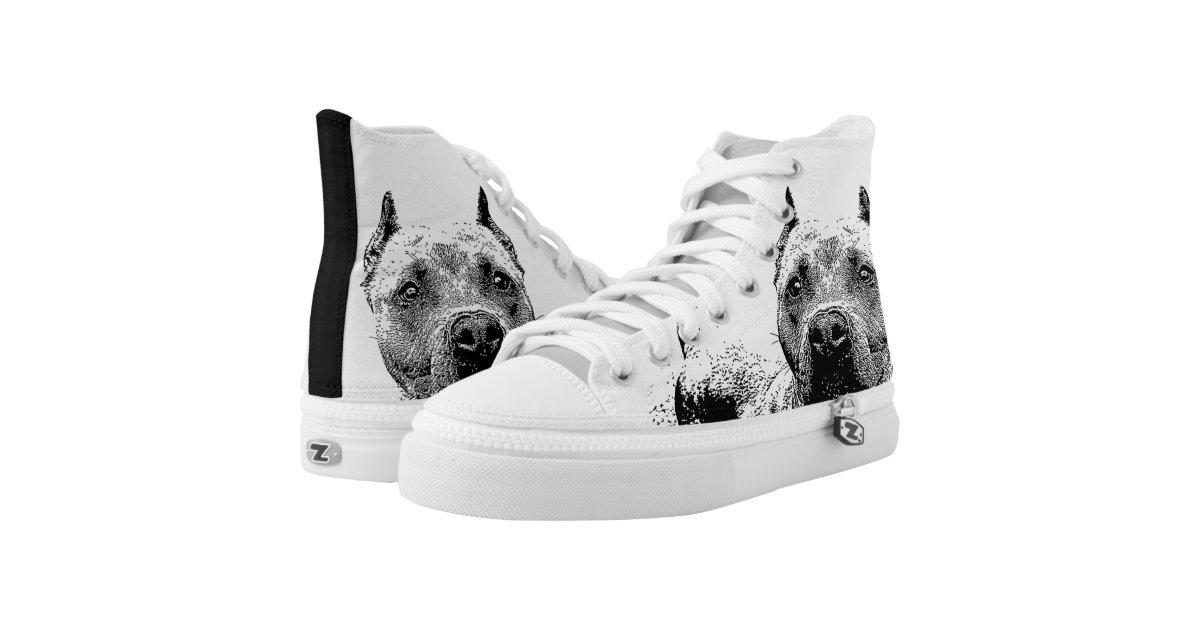Pitbull Dog High Top Tennis Shoes Zazzle Com