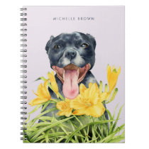 Pitbull Dog in a Garden Watercolor | Add Your Name Notebook