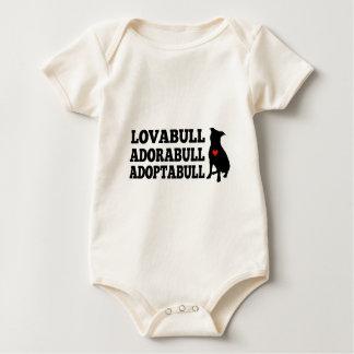 Pitbull Dog Lovabull Adorabull Adoptabull Baby Bodysuit
