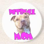 Pitbull dog Mom Beverage Coaster