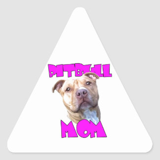 Pitbull dog Mom Triangle Sticker